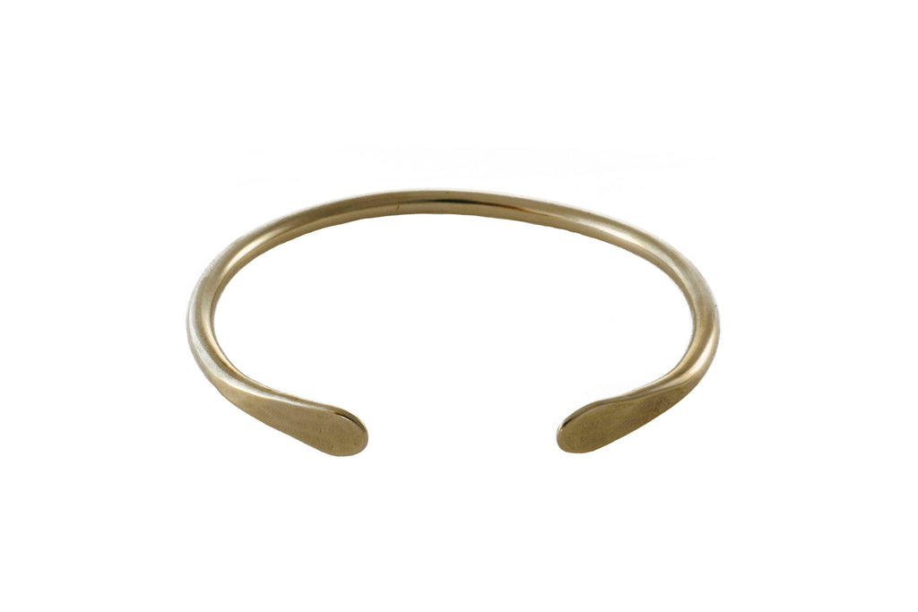"Ellen Mote Heavy brass cuff with hammered ends, measuring 2.5"" x 2"" on Makers Workshop"