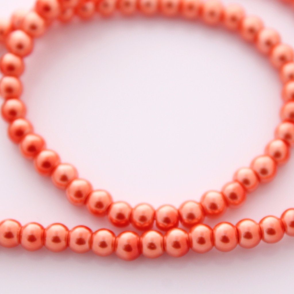 4mm Orange Glass Pearls