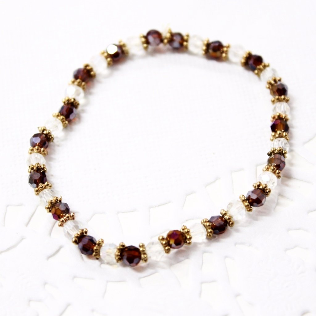Brown and Crystal Beaded Bracelet