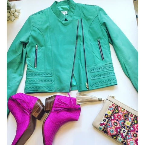 Jfahri Horizon Leather Jacket - Mint Green