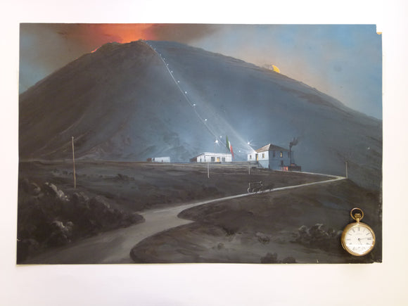 Vesuvius & funicular. 1880. Painting in body colour, 35.5 x 54cm, on cartridge paper