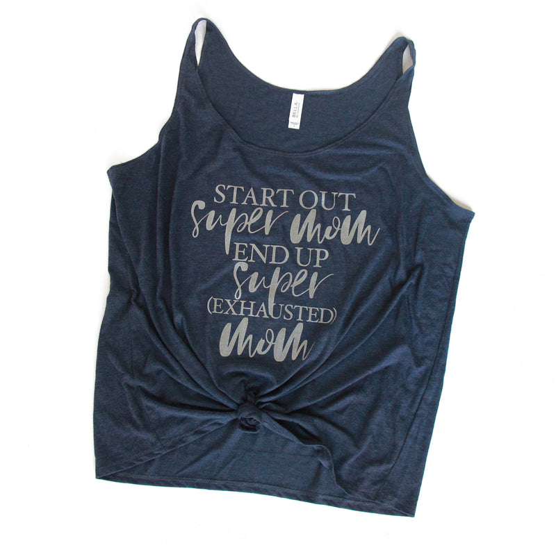 Super Mom Super Exhausted - Heather Navy Slouchy Tank