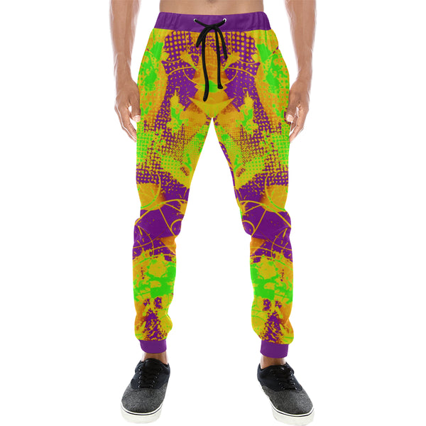 Color Splat Abstract Men's All Over Print Sweatpants - BigTexFunkadelic
