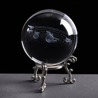 Inspire Uplift 6 CM / with silver base Engraved Solar System Sphere
