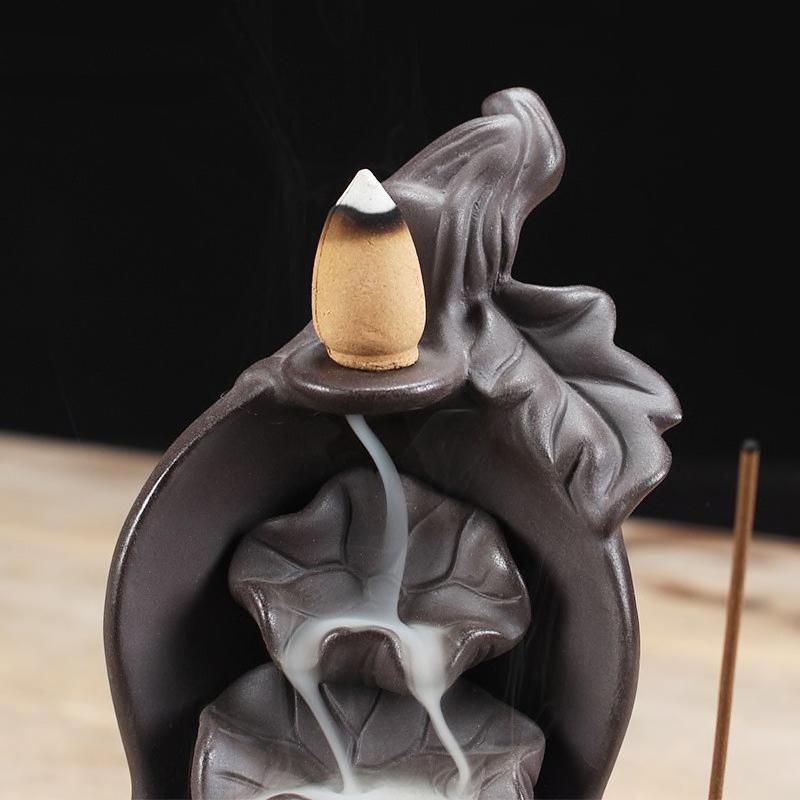 Inspire Uplift Lotus Fountain Incense Holder As picture Lotus Fountain Incense Holder