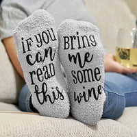 Inspire Uplift Wine Lover Custom Thermal Socks Gray-Wine Wine Lover Custom Thermal Socks