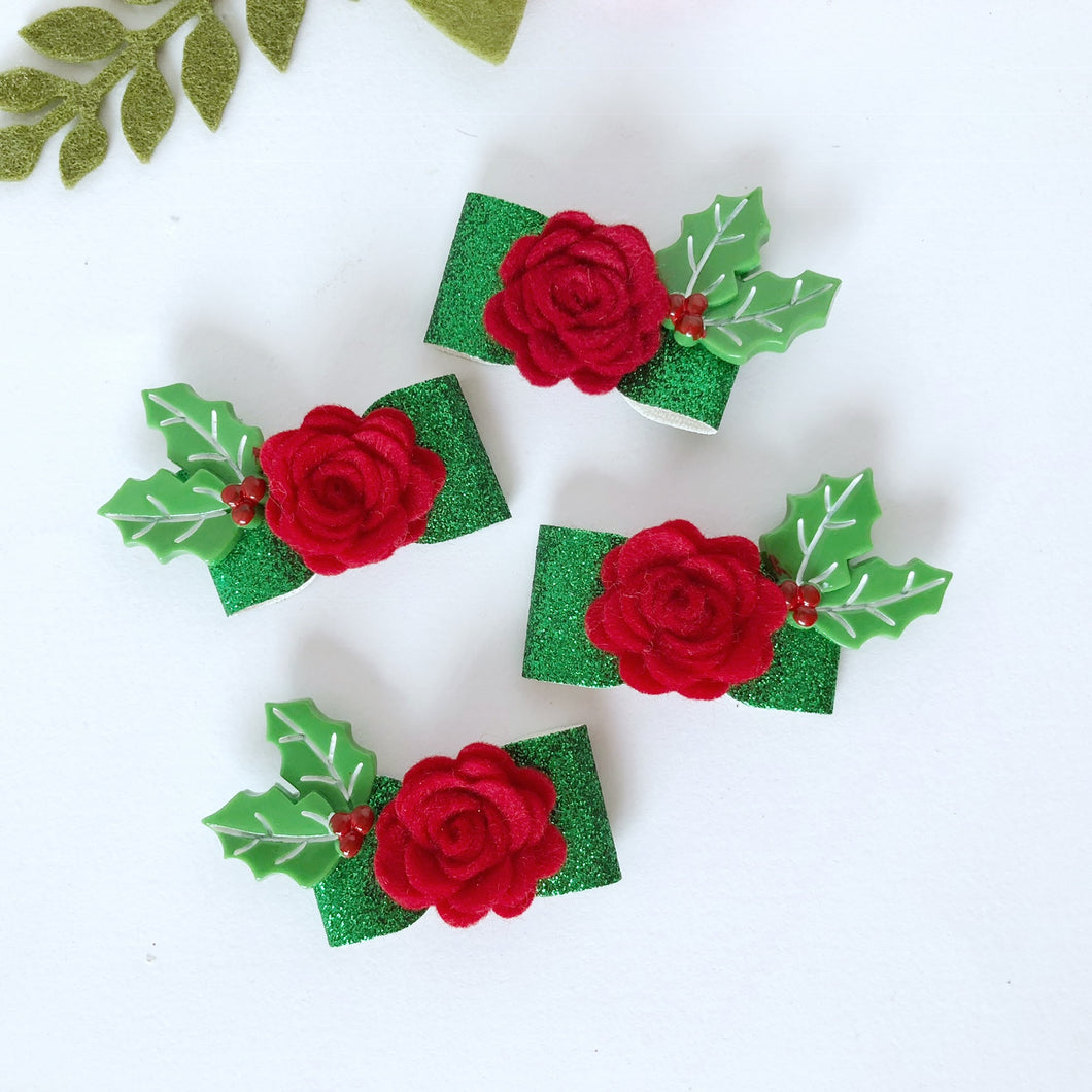 Christmas Piggytail Bows - Red Felt & Holly Green