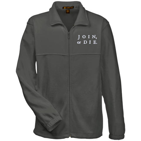 Join Or Die. White Text. Harriton Fleece Full-Zip. (Embroidered)