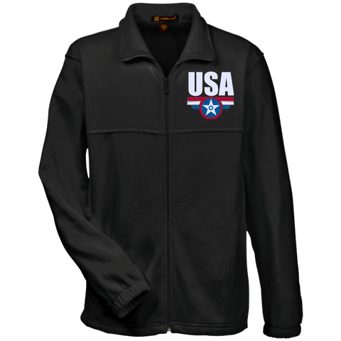 USA. Star-Shield. Red, White, Blue. Harriton Fleece Full-Zip. (Embroidered)
