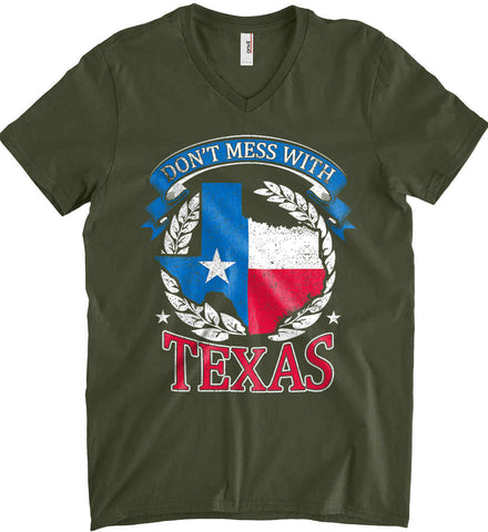 Don't Mess with Texas. Anvil Men's Printed V-Neck T-Shirt.