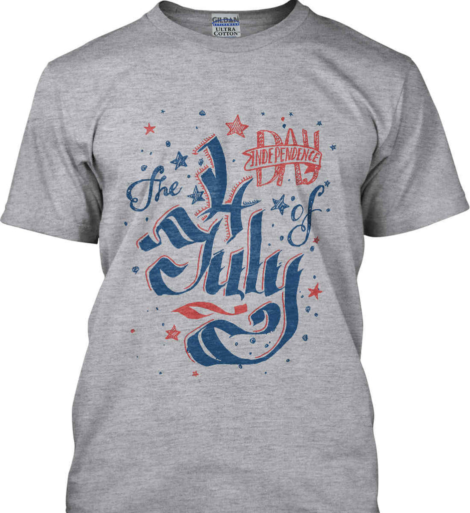 The 4th of July. Ribbon Script. Gildan Ultra Cotton T-Shirt.-1
