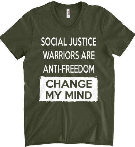 Social Justice Warriors Are Anti-Freedom - Change My Mind. Anvil Men's Printed V-Neck T-Shirt.