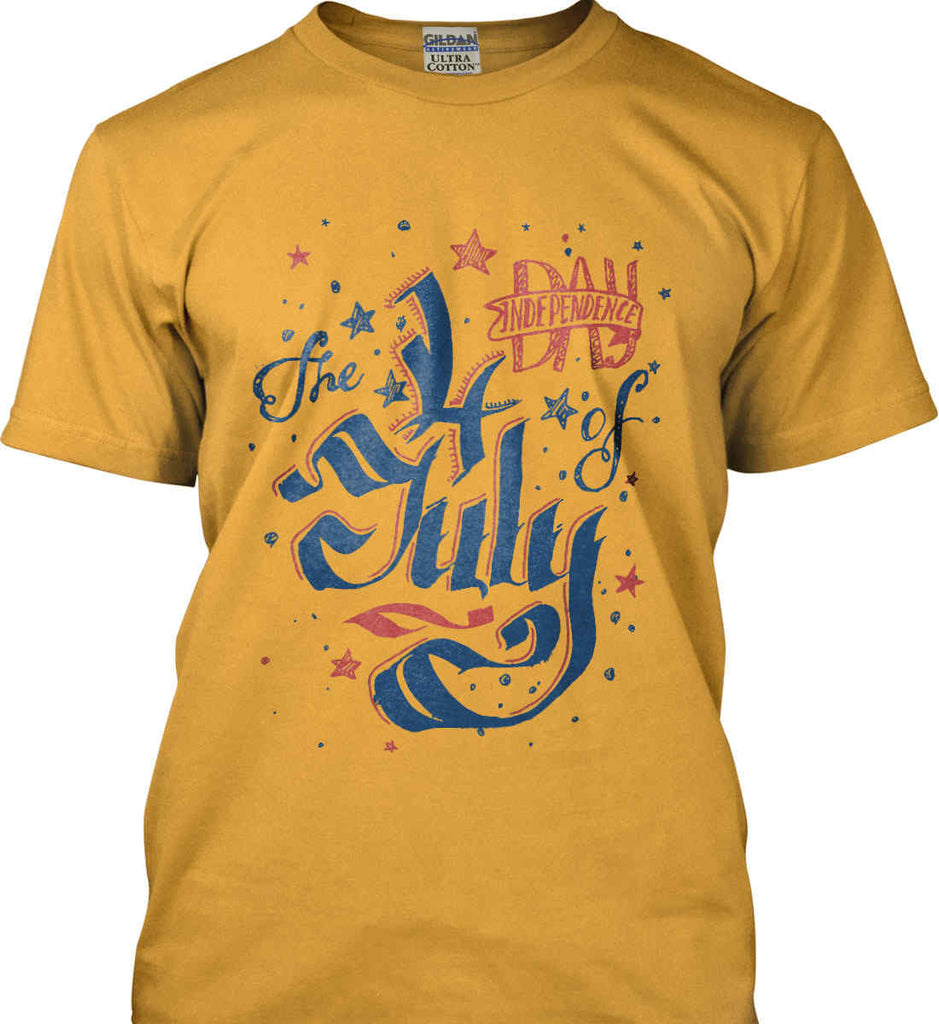 The 4th of July. Ribbon Script. Gildan Ultra Cotton T-Shirt.-6