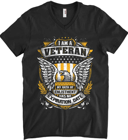 I Am A Veteran. My Oath Of Enlistment Has No Expiration Date. Anvil Men's Printed V-Neck T-Shirt.