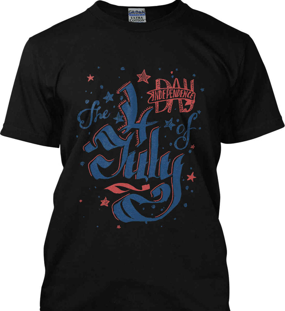 The 4th of July. Ribbon Script. Gildan Ultra Cotton T-Shirt.-4