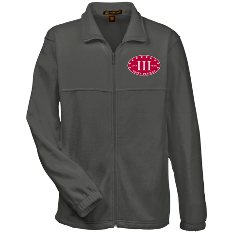 Three Percent. Live Free. Red with White Text. Harriton Fleece Full-Zip. (Embroidered)