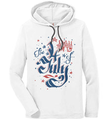 The 4th of July. Ribbon Script. Anvil Long Sleeve T-Shirt Hoodie.