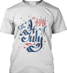 The 4th of July. Ribbon Script. Port & Co. Made in the USA T-Shirt.