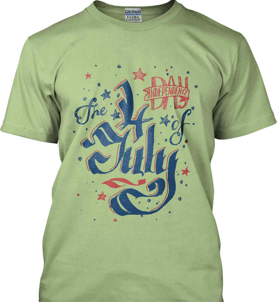 The 4th of July. Ribbon Script. Gildan Ultra Cotton T-Shirt.-7