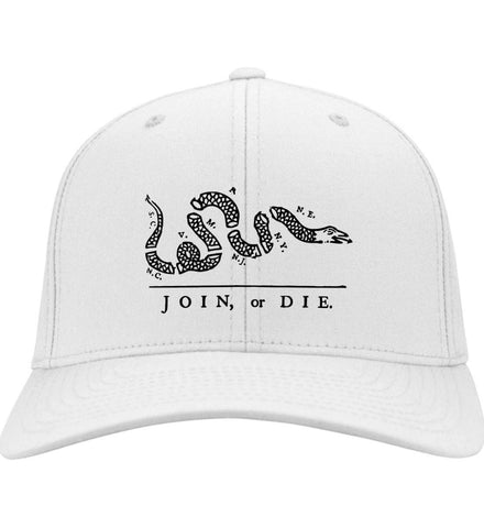 Join or Die Black Design Cap. Port & Co. Twill Baseball Cap. (Embroidered)