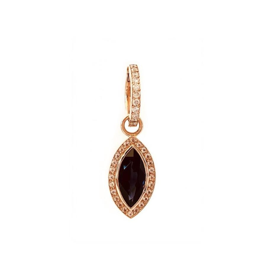 18CT BLACK SPINEL AND DIAMOND EARRING CHARM