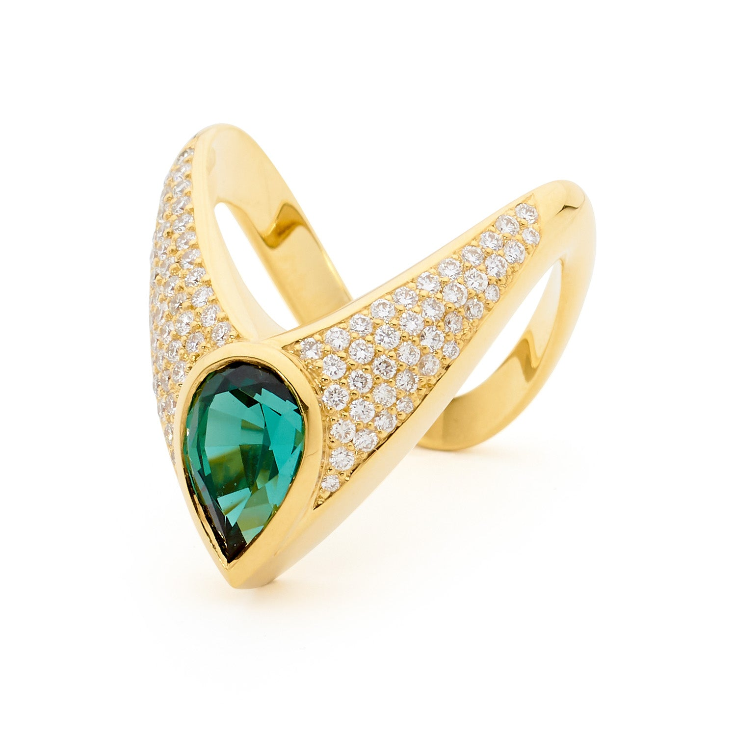 AVA GREEN PAVÉ DIAMONDS AND GREEN TOURMALINE RING