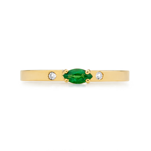 MARQUISE EMERALD AND WHITE SAPPHIRES RING