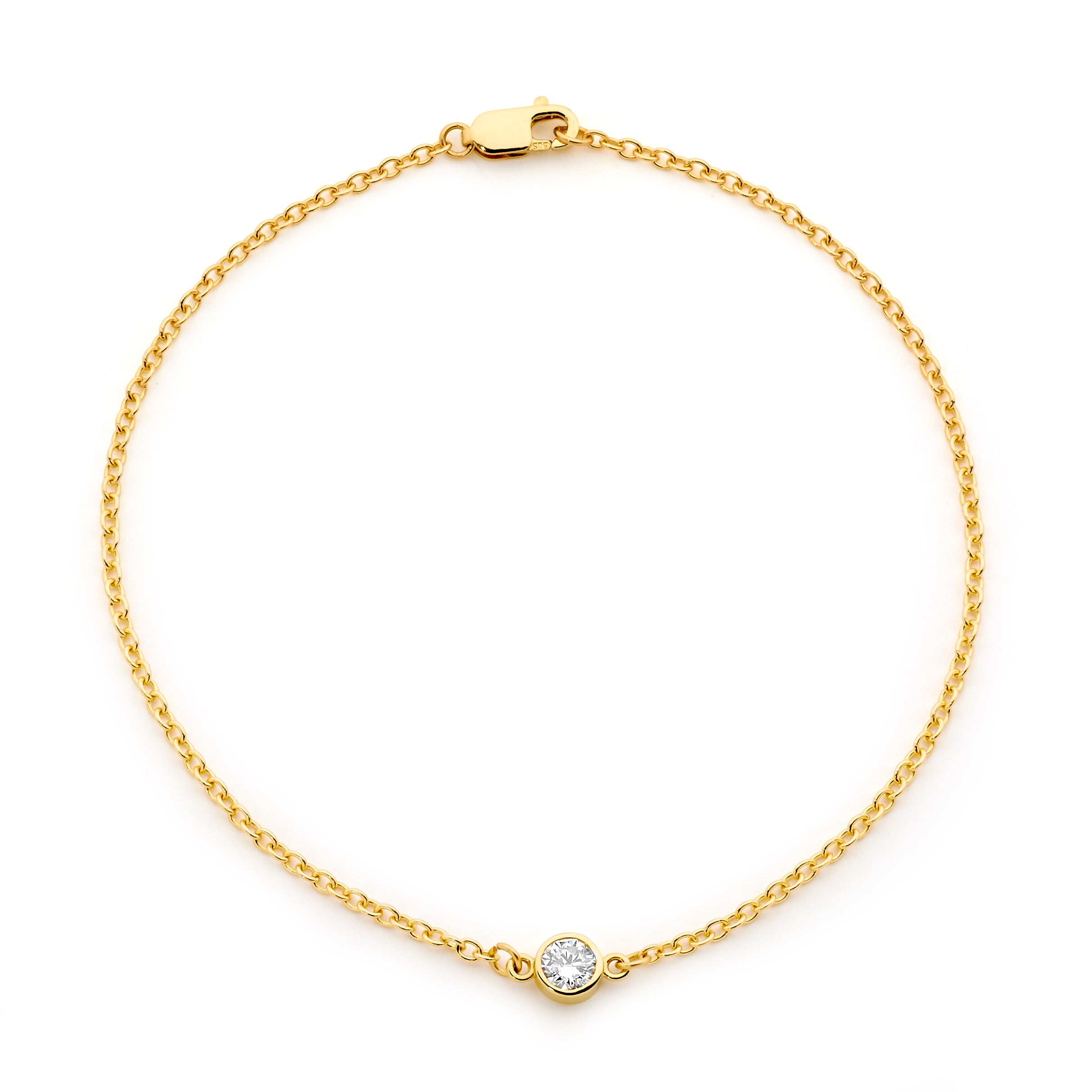 18CT GOLD SOLITAIRE DIAMOND BRACELET