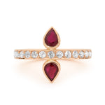 DOUBLE RUBY AND ROSE GOLD RING