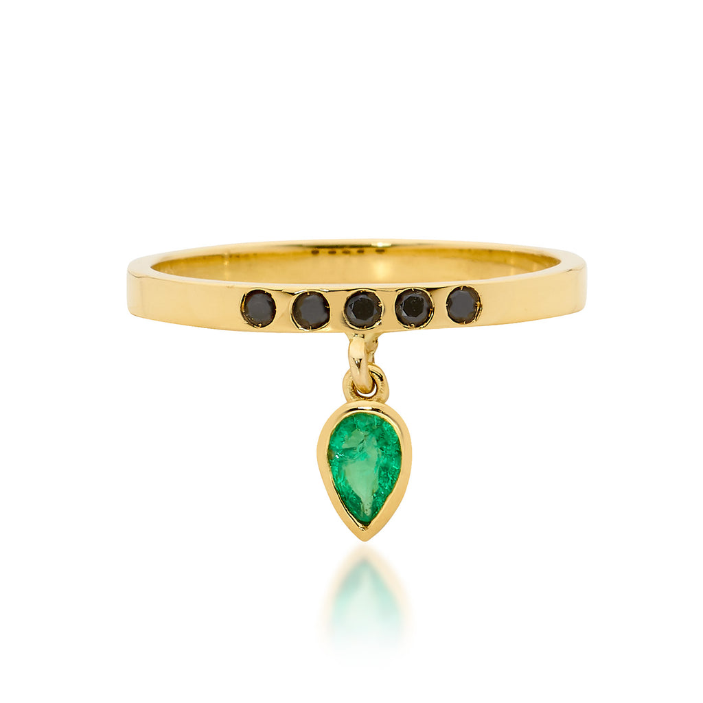 GREEN EMERALD DROP AND BLACK SPINEL RING