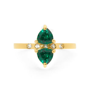 DOUBLE TRILLION EMERALD AND WHITE SAPPHIRES RING