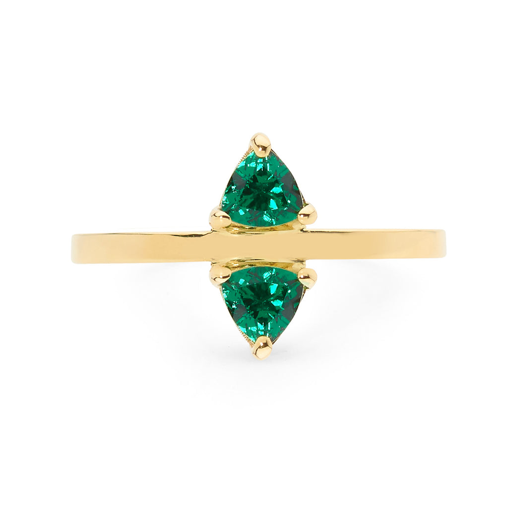 DELICATE DOUBLE TRILLION EMERALD RING