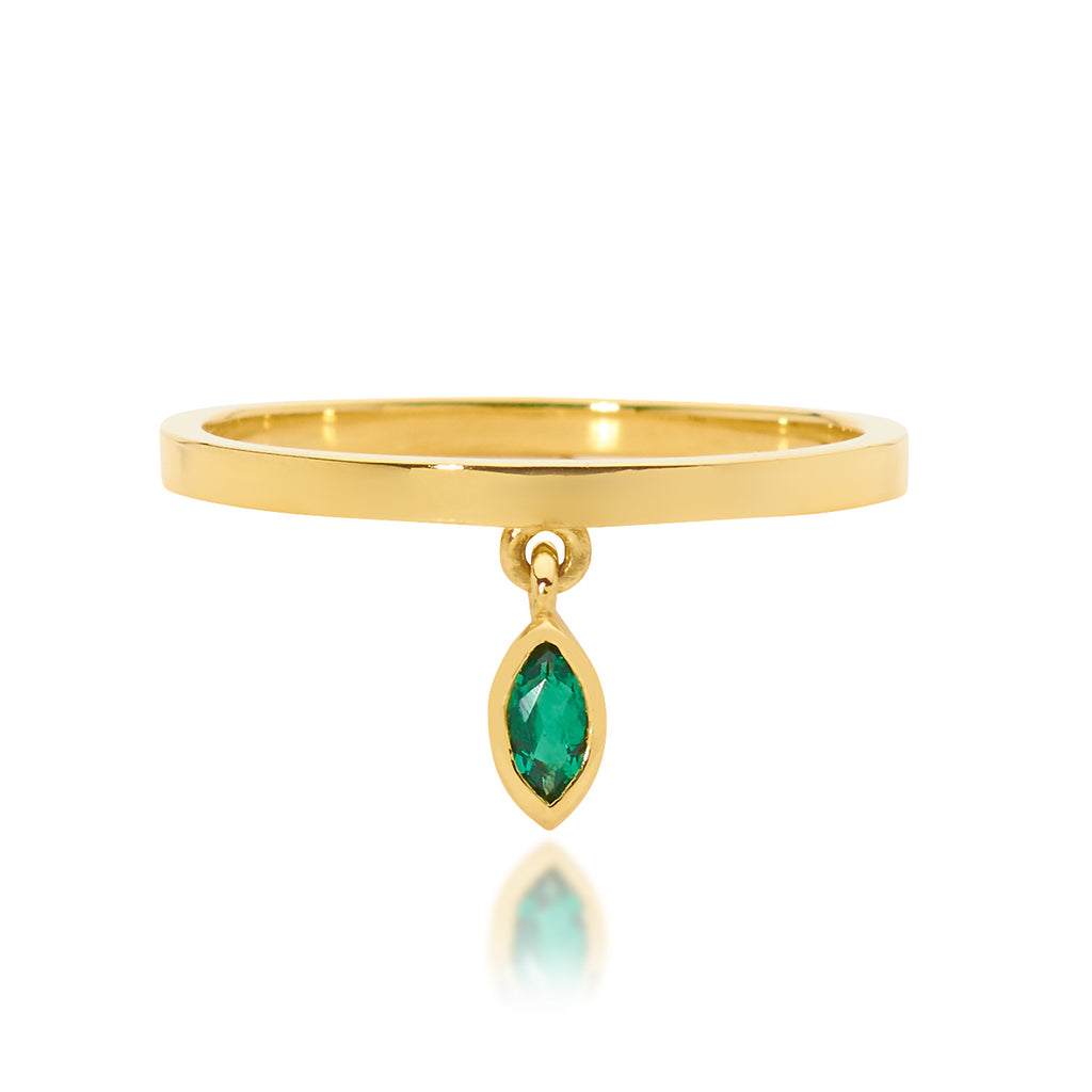 SMALL GREEN MARQUISE EMERALD DROP RING