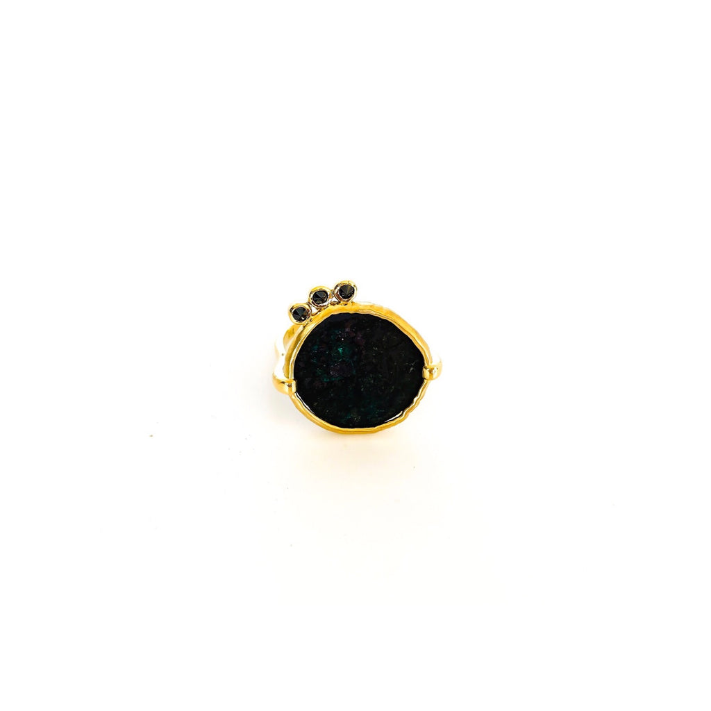 COIN RING WITH 18CT GOLD AND BLACK DIAMONDS