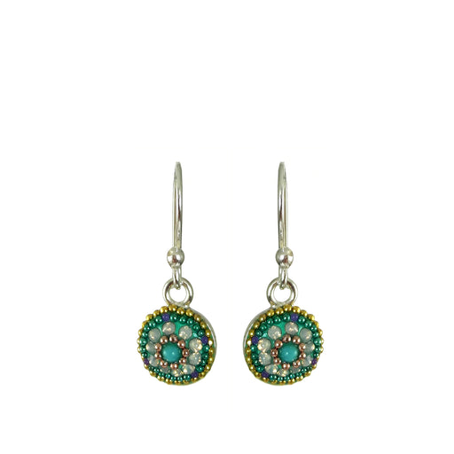 Allegra Aqua Round Daisy Drop Earrings