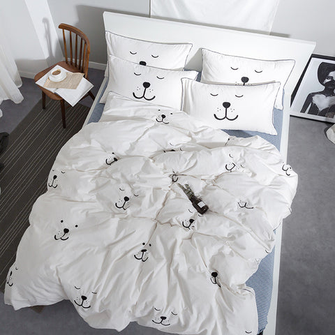 Bear Sleepy Smily Face Embroidered Bedding Set - Just Kidding Store