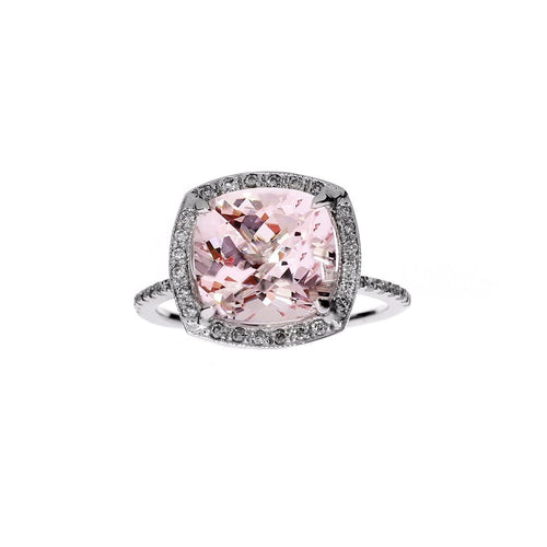 Cushion Morganite Ring Diamond Halo Engagement Ring ,[product vendor],JewelStreet