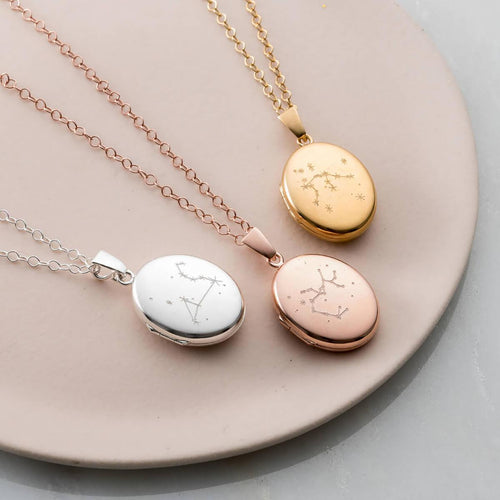 Personalised Zodiac Constellation Locket Necklace Yellow Gold Plated ,[product vendor],JewelStreet