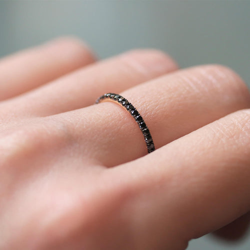 18kt Yellow Gold Full Eternity Ring With Black Diamond ,[product vendor],JewelStreet