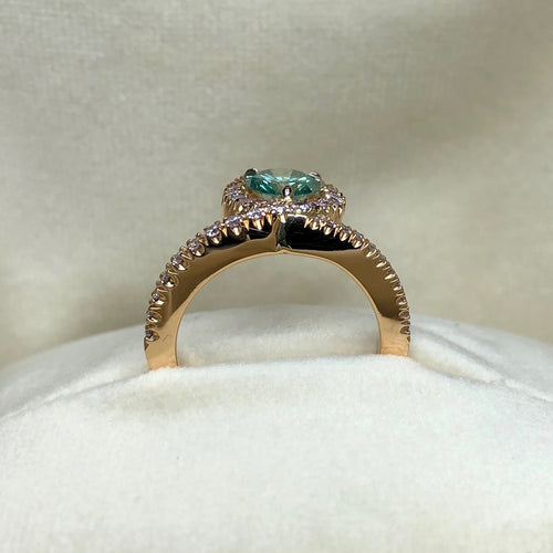 18kt Rose Gold EyeOnYou Ring With Green & Pink Diamonds ,[product vendor],JewelStreet