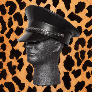 BLACK MIXED VINYL POLICE HAT WITH CHAIN - I NEED MORE