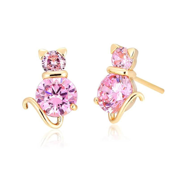 pink cat stud earrings with amethysts kittysensations