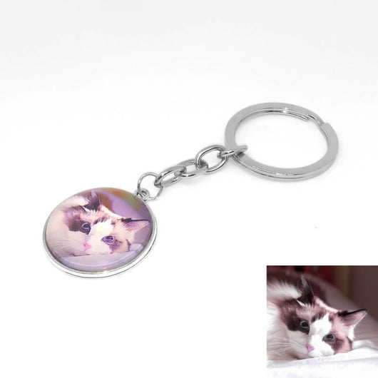 custom photo cat keychain with cat picture lying on white background 4706062-k1-silver