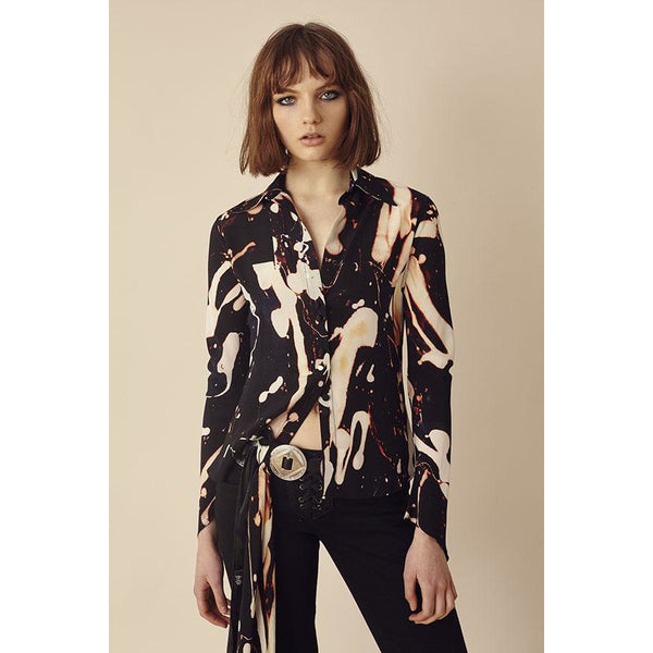 Bleach Mitred Sleeve Silk Shirt Black