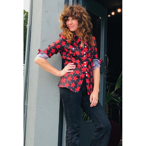 Black and Red Star Linen Shirt