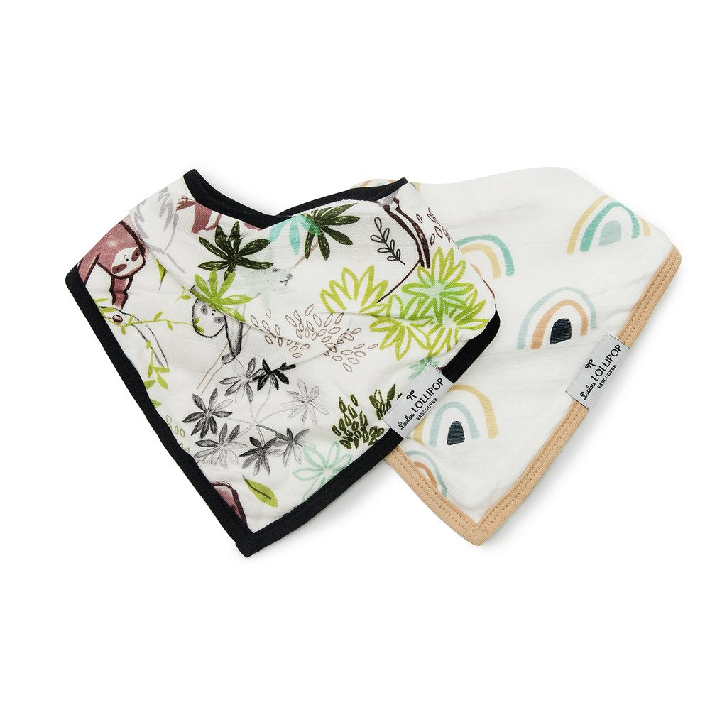 Loulou Lollipop Bandana Bib Set - Sloth