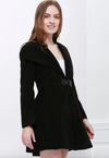 Womens Coat • Waisted Flared Coat with Wide Collar