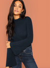 Fluted Sleeve Rib Knit Top