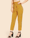 Belted Vertical Striped Pants