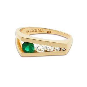 round emerald with four round diamonds set in 14 k yellow gold ring